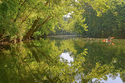 Photograph - paddling on Big Piney River by Robert Charity