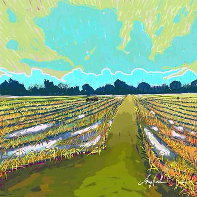 Inspired By Van Gogh Wall Art - Photograph - Paddy Field In Impressionism  by Amy  Hashim