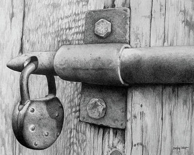 Drawing - Padlock by Becky West
