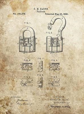 Padlock Patent Art Print by Dan Sproul