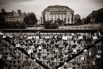 Photograph - Padlocks On Bridge by Songquan Deng