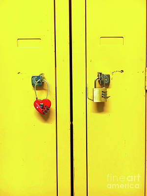 Combination Photograph - Padlocks On Locker Doors by Tom Gowanlock