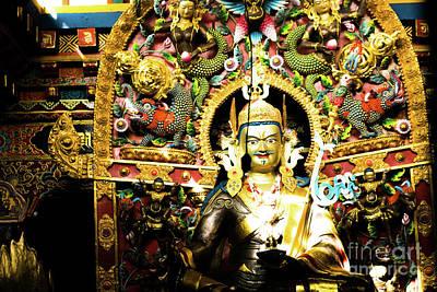 Padmasambhava Chiu Gompa Lake Manasarovar Tibet Art Print by Raimond Klavins