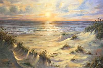 Sunrise Over Water Painting - Padre Morning by Shelley Henderson