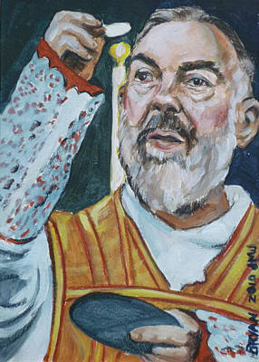 Painting - Padre Pio by Bryan Bustard