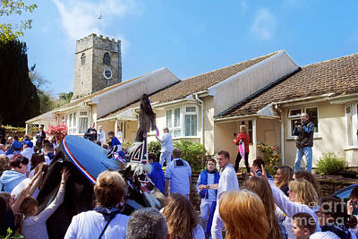 Photograph - Padstow Blue Oss Nears The Church by Terri Waters