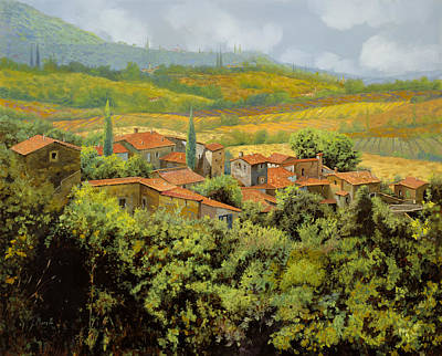 Curated Round Beach Towels - Paesaggio Toscano by Guido Borelli