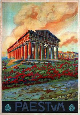 Temple Mixed Media - Paestum, Italy - Temple Of Naptune - Retro Travel Poster - Vintage Poster by Studio Grafiikka
