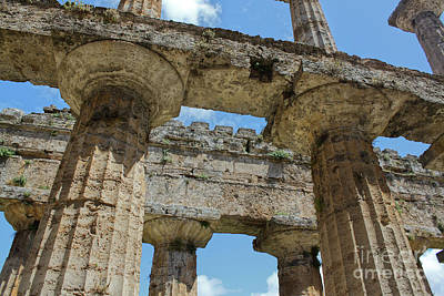 Photograph - Paestum Temple Columns by Gregory Dyer