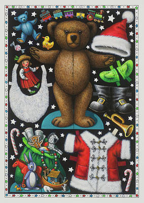 Page 1 Of 2 Teddy Bear Santa Claus Paper Doll Art Print by Lynn Bywaters