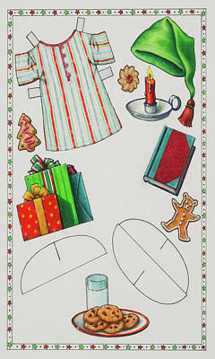 Page 2 Of 2 Teddy Bear Santa Paper Doll Art Print by Lynn Bywaters