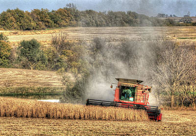 Photograph - Page County Iowa Soybean Harvest by J Laughlin