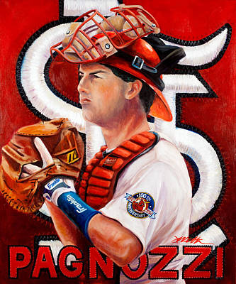 Major League Baseball Painting - Pagnozzi by Jim Wetherington