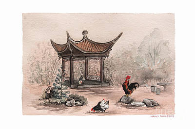 Bamboo Farm Painting - Pagoda Chickens by Nancy Pahl