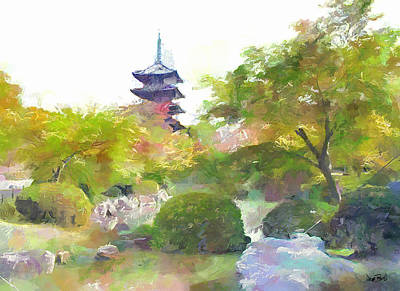 Painting - Pagoda Garden by Wayne Pascall
