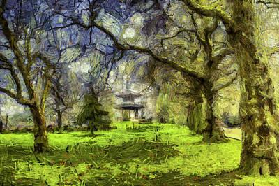 Mixed Media - Pagoda Impressionist Art by David Pyatt