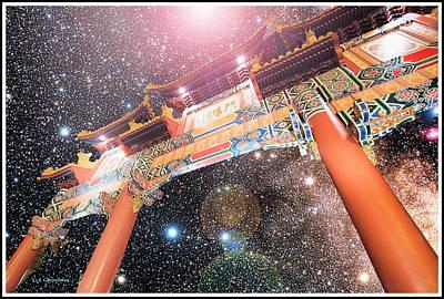 Digital Art - Paifong Gate, Starry Night, China Pavilion, Walt Disney World by A Gurmankin NASA