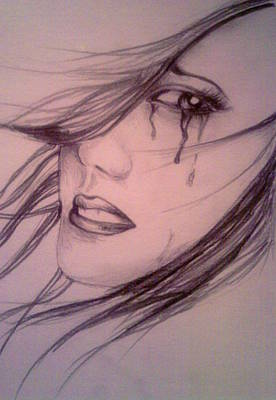 Crying Drawing - Pain by Aleksandra Savova