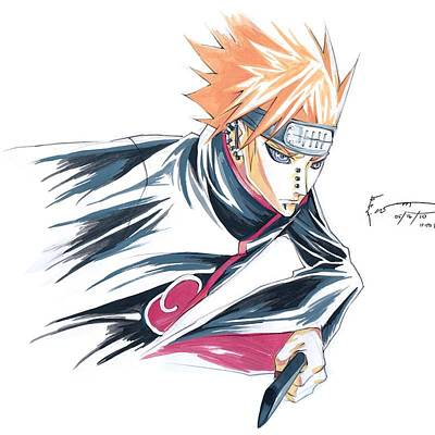 Naruto Drawing - Pain Attack by Dominic