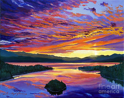 Mountain Sunset Painting - Paint Brush Sky by David Lloyd Glover