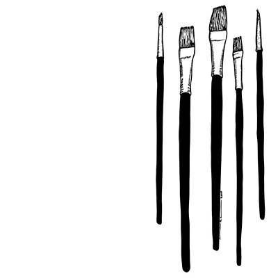 Painted Drawing - Paint Brushes by Karl Addison