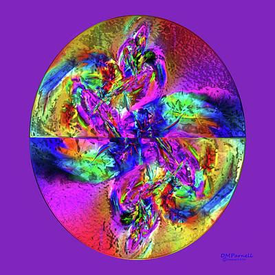 Abstract Rose Oval Digital Art - Paint Egg Metallic by Diane Parnell