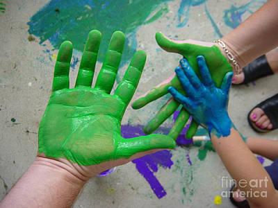 Parents And Child Paint Hands Art Print