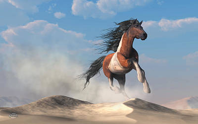 Digital Art - Paint Horse In The Desert by Daniel Eskridge