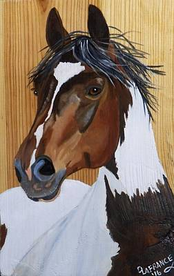 Equine Painting - Paint Horse On Wood by Debbie LaFrance