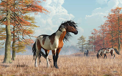 Digital Art - Paint Horses In Autumn by Daniel Eskridge
