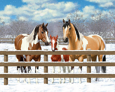 Pinto Painting - Paint Horses In Winter Corral by Crista Forest