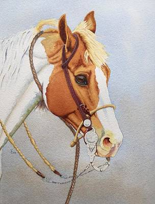Watercolor. Equine. Bridle Painting - Paint Me A Cowpony by Valerie Coe