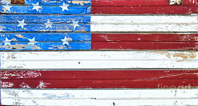 Water Droplets Sharon Johnstone - Paint on Wood American Flag by David Arment