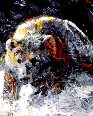 Digital Art - Paint Splashed Grizzly Abstract  by Scott Wallace