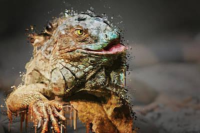 Iguana Painting - Paint Splatter Iguana by Elaine Plesser
