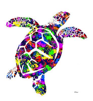 Etc. Digital Art - Paint Splatter Sea Turtle by Gregory Murray