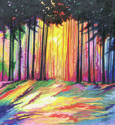 Sunset Abstract Drawing - Paint The Forest by Krista Payne