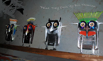 Sculpture - Paint Tray Owls by Bill Thomson