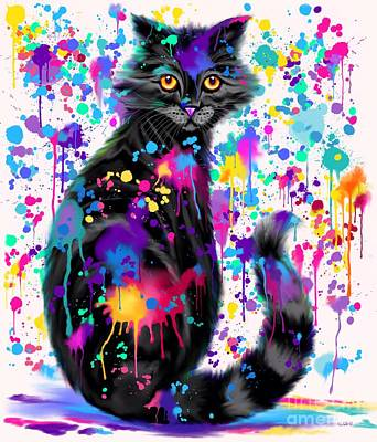 Digital Art - Paint With Colorful Cat by Nick Gustafson