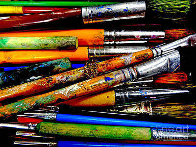 Paintbox Photograph - Paintbrushes by Eddy Mann