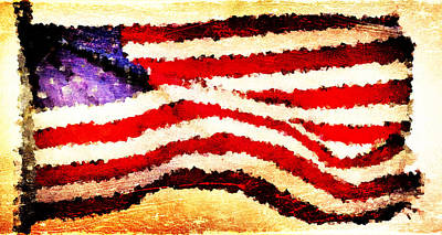 Nyc Digital Art - Painted American Flag by Andrea Barbieri