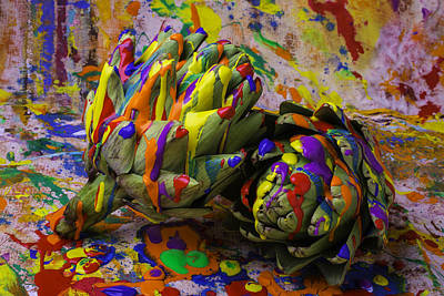Mess Photograph - Painted Artichokes by Garry Gay