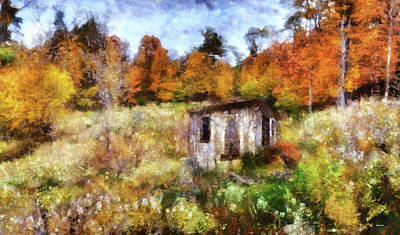 Shack Mixed Media - Painted Autumn Clearing by Reese Lewis