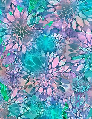 Alcohol Ink Wall Art - Mixed Media - Painted Background Floral Pattern by Klara Acel