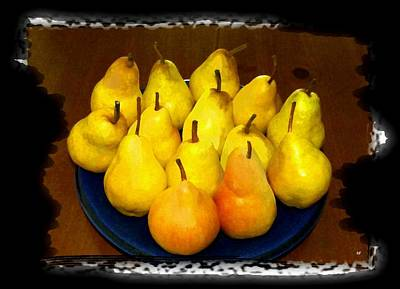 Mixed Media - Painted Bartlett Pears by Will Borden