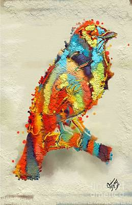 Bright Watercolor Portrait Bright Watercolor Painting - Painted Bird by Carrie Joy Byrnes