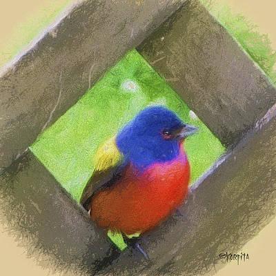 Bunting Digital Art - Painted Bunting - Tropical Bird by Rebecca Korpita