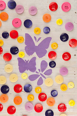 Still Life Photograph - Painted Butterflies In A Meadow Of Buttons by Wolfgang Steiner