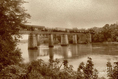 Photograph - Painted Congaree Trestle In Sepia by Skip Willits