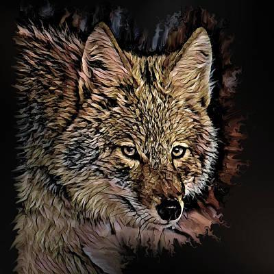 Digital Art - Painted Coyote by Artful Oasis